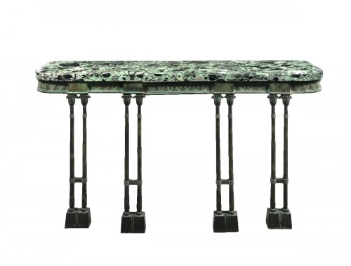 A Neo-Egyptian patinated bronze console