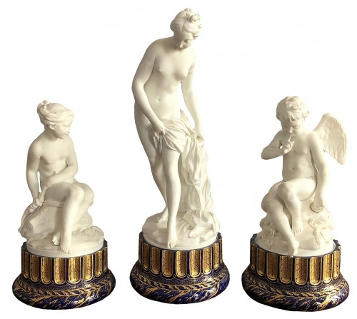 An important Sèvres biscuit porcelain garniture