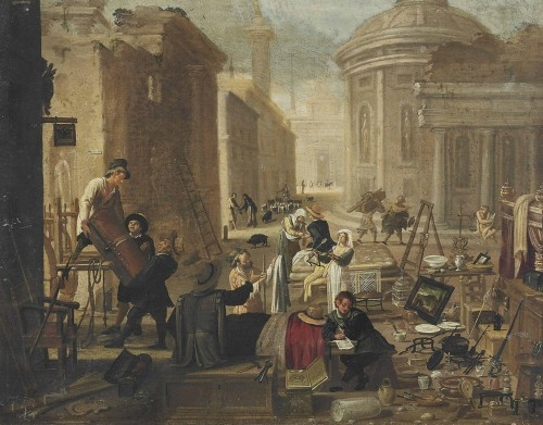 Circle of Jan Miel (1599-1660) - Auction in a street