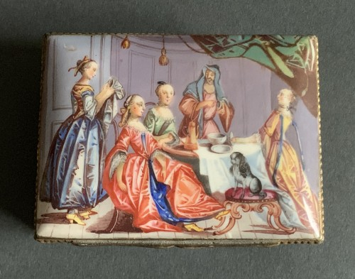 18th century - A gilt-metal mounted Battersea enamel snuff-box