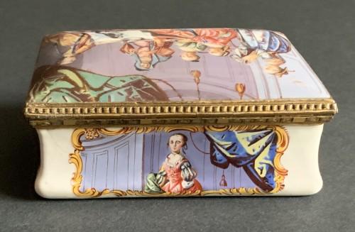 A gilt-metal mounted Battersea enamel snuff-box  -
