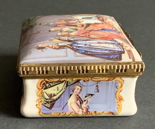 - A gilt-metal mounted Battersea enamel snuff-box
