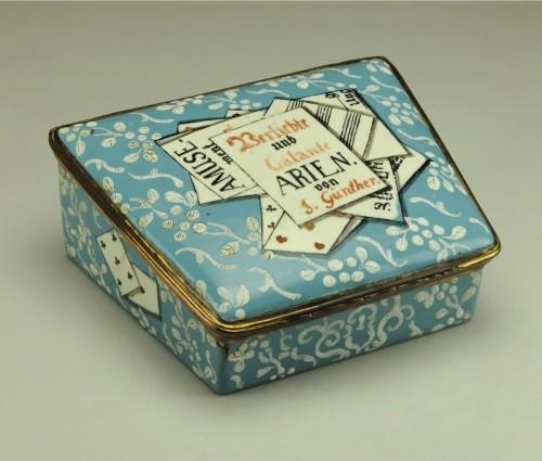 Objects of Vertu  - A gilt-metal mounted Berlin enamel snuff-box