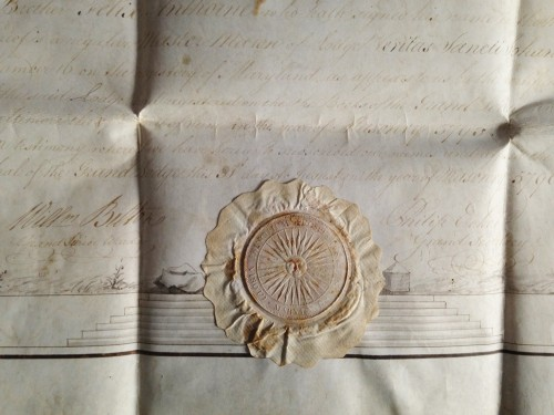 A rare Masonic certificate from the Grand Lodge of Maryland - Collectibles Style