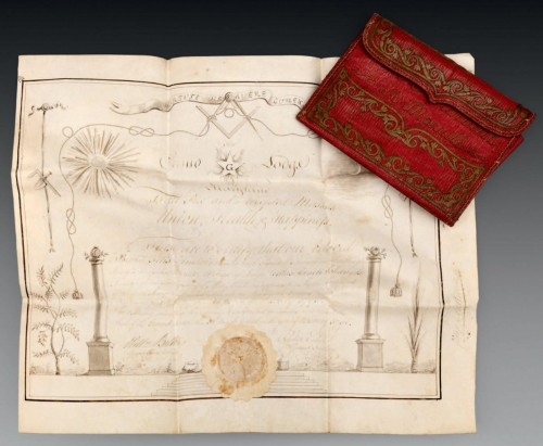 18th century - A rare Masonic certificate from the Grand Lodge of Maryland