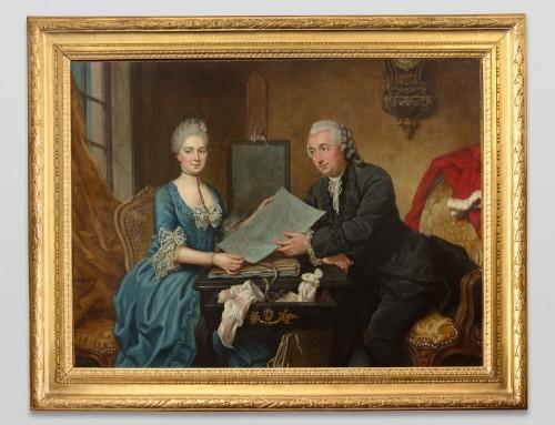 Donatien Nonnotte (1708-1785) - Portrait of Léonard and Antoinette Bourlier D'ailly  - Paintings & Drawings Style
