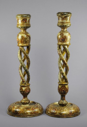 A pair of large Indian Kashmir lacquered open twist candlesticks - Lighting Style