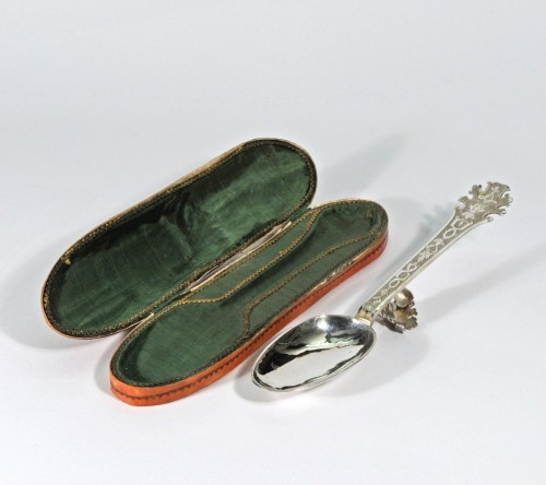 18th century - A silver Christening spoon in its leather case