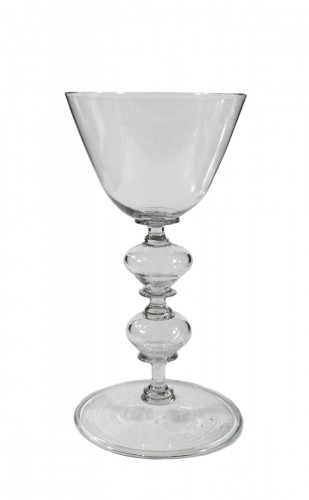 A rare Liège glass with two bulb stem