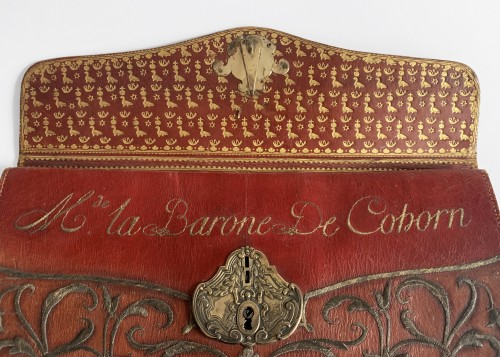 Objects of Vertu  - A red Moroccan leather briefcase with coat-of-arms
