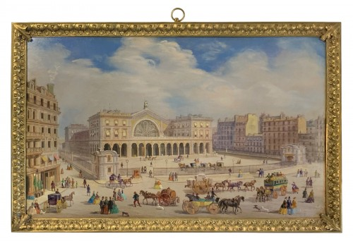"A rare lively view of the ""Gare de l'Est"" station in Paris - Oil on copper"