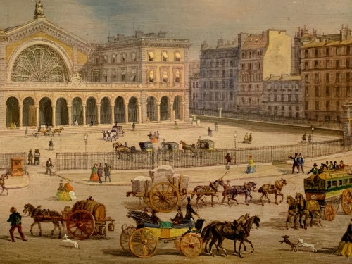 "Paintings & Drawings  - A rare lively view of the ""Gare de l'Est"" station in Paris - Oil on copper"