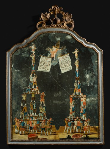 A rare painted mirror representing the traditional game called Forze Ercole - Mirrors, Trumeau Style
