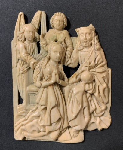 Religious Antiques  - A gothic ivory relief – The Crowning of the Virgin