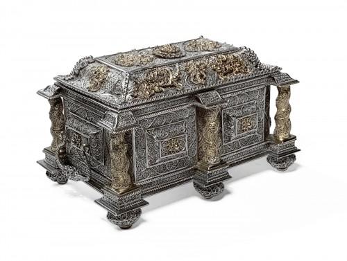 Silver and silver-gilt filigree casket - Goa, circa 1650
