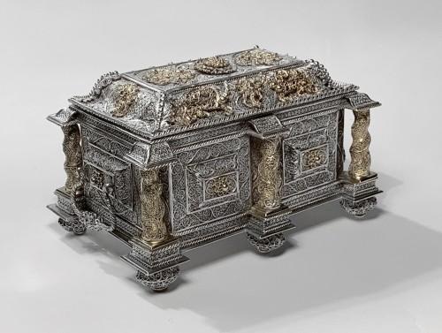 Silver and silver-gilt filigree casket - Goa, circa 1650 -