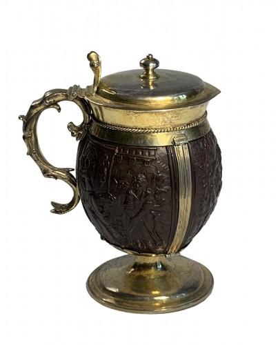 An English silver-gilt mounted coconut tankard, 17th century