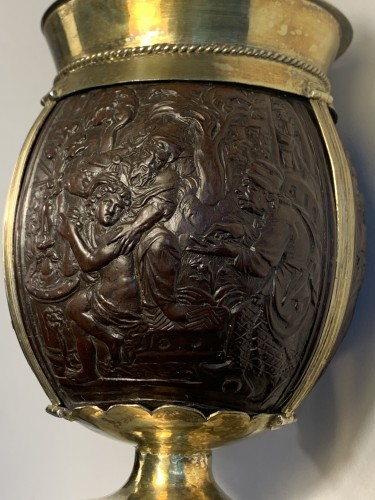 Antique Silver  - An English silver-gilt mounted coconut tankard, 17th century