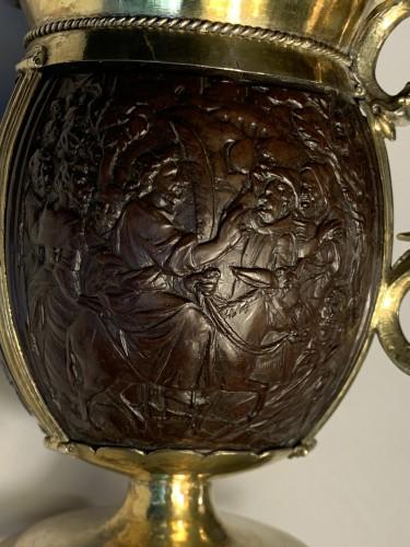 An English silver-gilt mounted coconut tankard, 17th century -