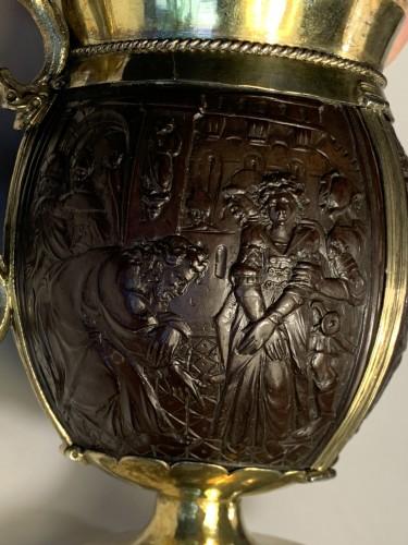 17th century - An English silver-gilt mounted coconut tankard, 17th century