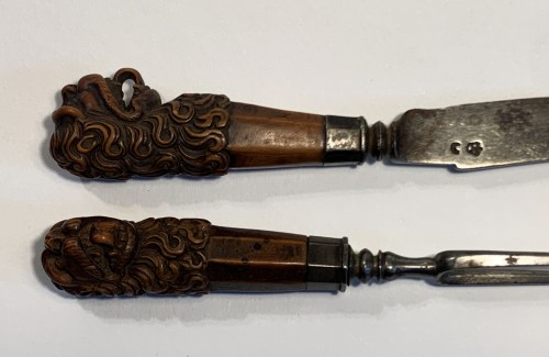 Curiosities  - A carved boxwood knife and fork, 17th century