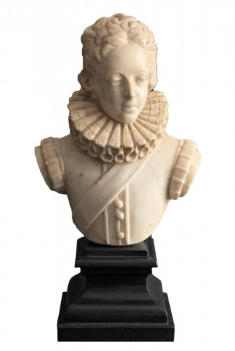A White Marble Bust of Young Louis XIII