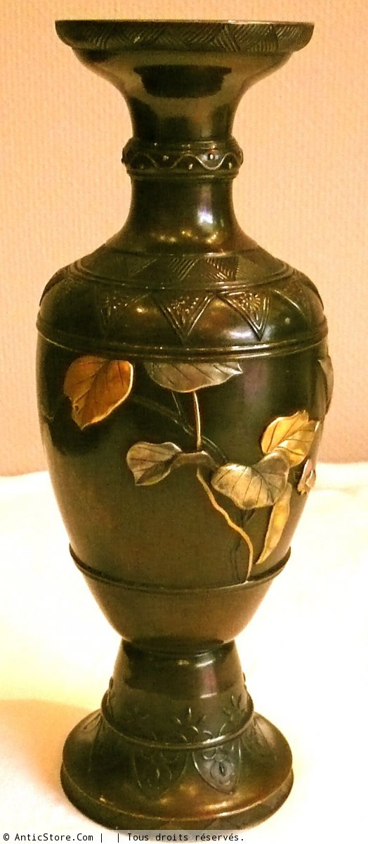Japanese Bronze Vase With Gold And Silver Decoration Ref21279