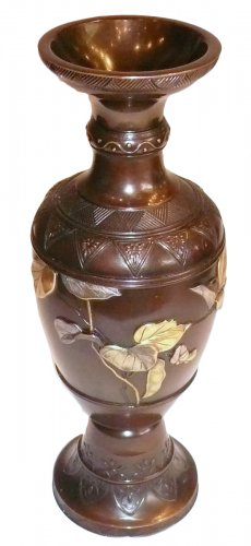 Japanese Bronze Vase with Gold and Silver Decoration