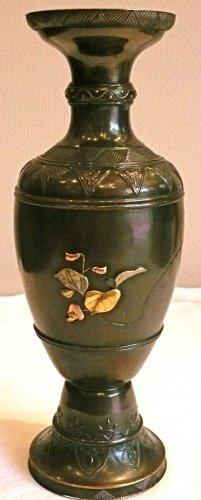 Asian Art & Antiques  - Japanese Bronze Vase with Gold and Silver Decoration