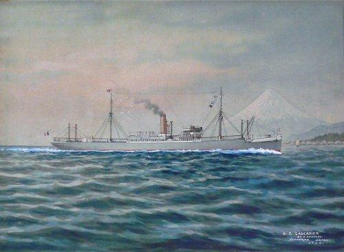 """Japanese ship painting of """"s.s caucasier"""" signed shimiozu """"yokohama"""""""