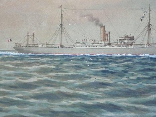 """Asian Art & Antiques  - Japanese ship painting of """"s.s caucasier"""" signed shimiozu """"yokohama"""""""