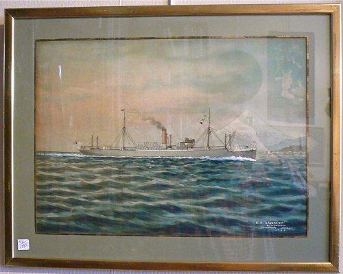 """Japanese ship painting of """"s.s caucasier"""" signed shimiozu """"yokohama"""" -"""
