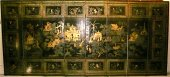 Large chinese lacquered screen of palace decors