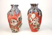 Beautiful and large pair of vases sumida gawa