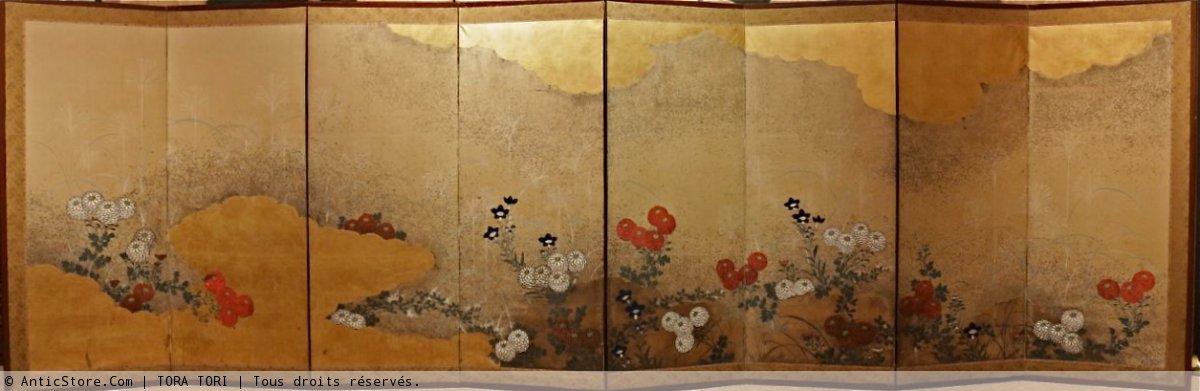 paravent japonais 8 panneaux de l 39 cole rimpa xixe si cle. Black Bedroom Furniture Sets. Home Design Ideas