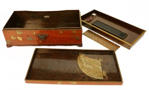 An Impressive and rare Writing Box Suzuri Bako Signed Koma Koryu