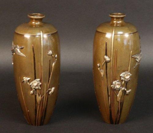 Pair of japanese bronze vases signed miyabe atsuyoshi - Asian Art & Antiques Style