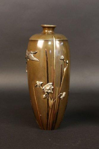 Asian Art & Antiques  - Pair of japanese bronze vases signed miyabe atsuyoshi