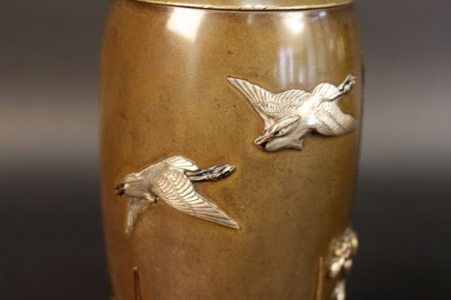 19th century - Pair of japanese bronze vases signed miyabe atsuyoshi