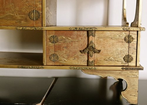 Asian Art & Antiques  - A Japanese Gold Lacquered Shodana
