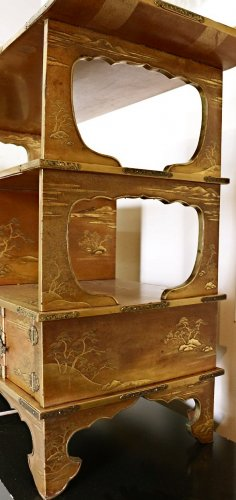 A Japanese Gold Lacquered Shodana -