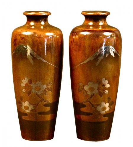 Pair of Japanese Bronze Vases with Fuji and Cherry trees decorations