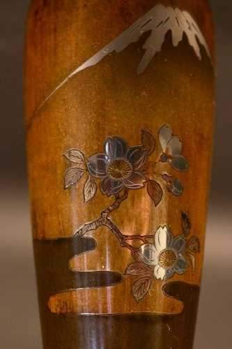 Pair of Japanese Bronze Vases with Fuji and Cherry trees decorations -