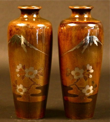 - Pair of Japanese Bronze Vases with Fuji and Cherry trees decorations