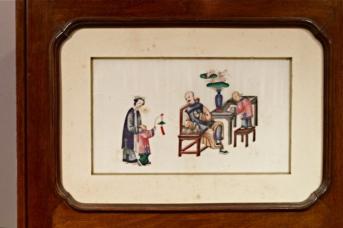 An Original Chinese 3-Panel Screen with 18 Rice Paper Paintings - Asian Art & Antiques Style