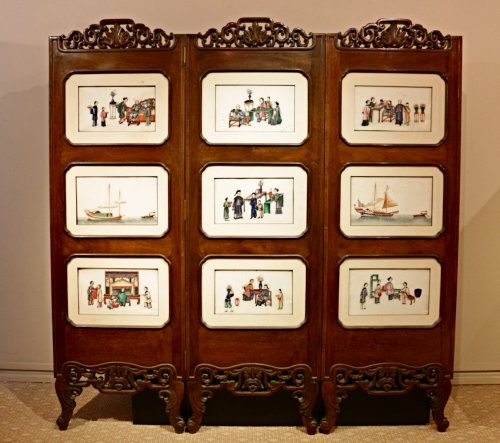 Antiquités - An Original Chinese 3-Panel Screen with 18 Rice Paper Paintings