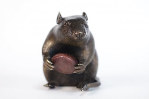 Asian Art & Antiques  - Japanese Bronze of a Small Rat Holding a Chestnut.