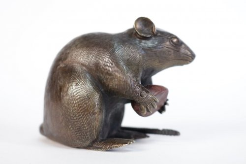 Japanese Bronze of a Small Rat Holding a Chestnut. -