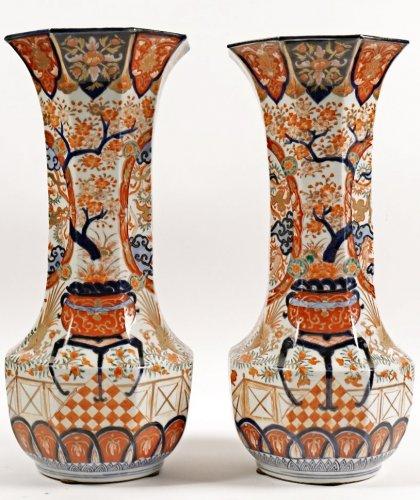 Pair of Japanese Porcelain Vases in Imari Enamels