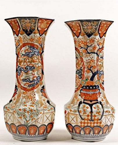 Pair of Japanese Porcelain Vases in Imari Enamels - Asian Art & Antiques Style